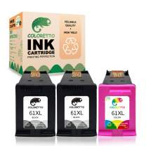 Coloretto Remanufactured Printer Ink Cartridge Replacement for HP 61 61XL 61 XL,for Envy 4500 5530 5535 Deskjet 1000 1510 1512 3050 3510 3050A Officejet 2620 4630 (2 Black+1 Tri-Color