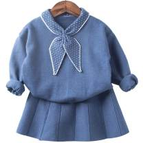mubenshang Baby Girl Sweater Dress Blue Infant Sweater Suit for Toddler 0-4 Years
