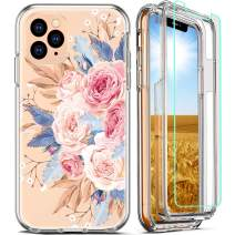 FIRMGE for iPhone 11 Pro Max Case, with 2 x Tempered Glass Screen Protector 360 Full-Body Coverage Hard PC TPU Silicone 3 in 1 Military Grade Shockproof Floral Phone Protective Cover- Clear Flower 013