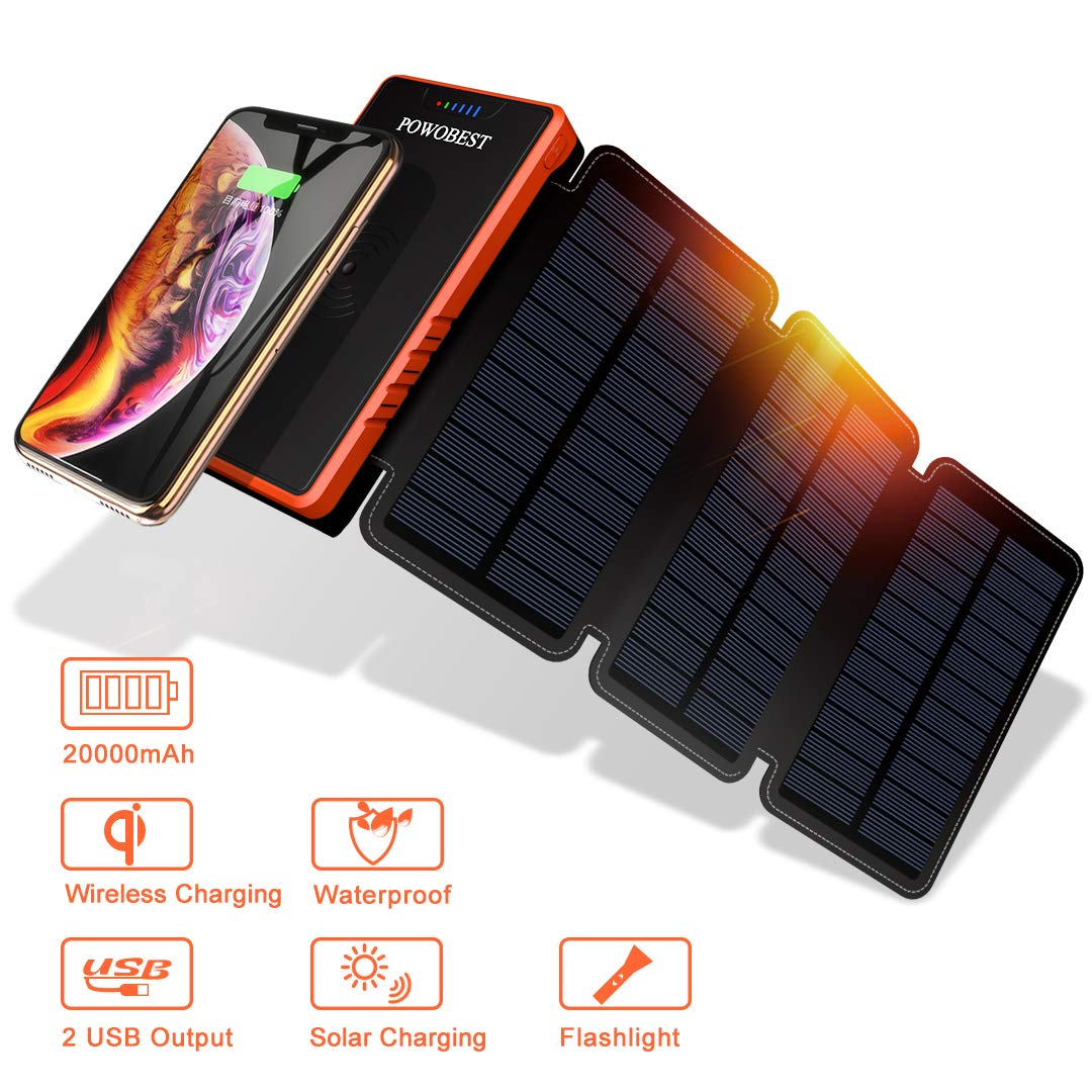 POWOBEST 20000mAh Portable Waterproof Camping Gear Wireless Solar Phone Charger,Solar Battery Pack,Portable Power Bank with Led Light Flashlight,Solar Charger, Solar Power Bank,Solar Panels