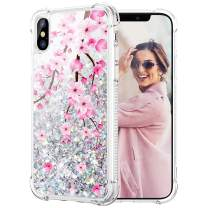 Caka iPhone Xs Case, iPhone X XS Glitter Case Flower Bling Girls Girly Women Luxury Fashion Flowing Liquid Floating Sparkle Blossom Glitter Case for iPhone X XS (5.8 inch) (Cherry)