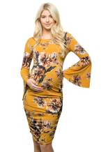My Bump Women's Maternity Dress - Printed Fitted Stretch Bell Sleeve W/Ruched