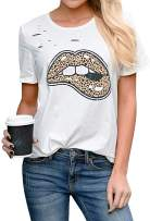 Women's Leopard Printed Glittery Lip Funny T-Shirts Cute Summer Short Sleeve Loose Tongue Tee Shirts Tops
