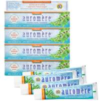 Auromere Ayurvedic Herbal Toothpaste, Classic Licorice Flavour - Vegan, Natural, Non GMO, Fluoride Free, Gluten Free, with Neem & Peelu (4.16 oz), 4 Pack