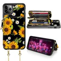 LAMEEKU iPhone 11 Pro Max Wallet Case, iPhone 11 Pro Max Card Holder Case, Sunflower Pattern Zipper Leather Case with Card Slot Strap, Protective Cover for iPhone 11 Pro Max 6.5''-Sunflower