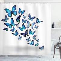 "Ambesonne Butterflies Shower Curtain, Group of Flying Butterflies Natural Botanic Parks Springtime, Cloth Fabric Bathroom Decor Set with Hooks, 75"" Long, White Blue"