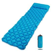 REDCAMP Ultralight Inflatable Camping Sleeping Pad with Pillow, Nylon Waterproof Air Sleeping Mat for Backpacking Hiking, Blue 74x22x1.9