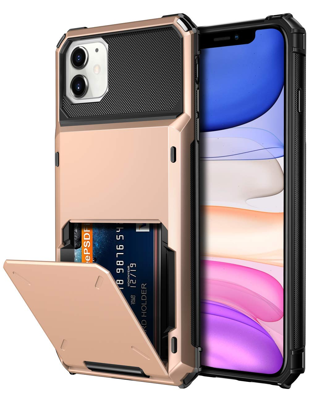 Vofolen Case for iPhone 11 Case Wallet 4-Card Holder ID Slot Flip Door Hidden Pocket Anti-Scratch Dual Layer Hybrid TPU Bumper Armor Protective Hard Shell Back Cover for iPhone 11 6.1 inch Rose Gold