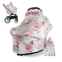 DSYJ Nursing Cover Baby Breastfeeding Scarf with Free Matching Pouch, Car Seat Covers, Boys and Girls Shower Gifts, Multifunctional Cover - Floral