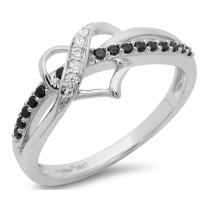 Clara Pucci 0.30 CT Designer Heart Shaped Round Cut CZ Modern Pave Ring Band 14k Solid White Gold