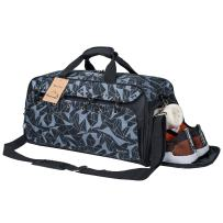 Sports Gym Bag Travel Duffel with Shoes Compartment for Men&Women (geometry grey)