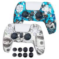 PS5 Controller Skin - 2 Pack PS5 Silicone Covers with PS5 Controller Grips - Anti-Slip Protector Accessories for PlayStation5, PS5 Digital Edition - 8 x Thumb Grips for PS5 - Witch&Balin