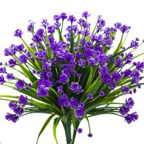 Artificial Fake Flowers, 4 Bundles Outdoor UV Resistant Greenery Shrubs Plants Indoor Outside Hanging Planter Home Garden Decor(Purple)