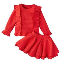 Toddler Baby Girl Infant Plain T Shirts Ruffle Skirt Set 2PCs Cotton Outfits Birthday Garden Dress Clothes