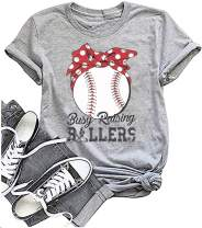Baseball Shirt Women Busy Raising Ballers Shirt Funny Baseball Mom Short Sleeve Tee Top