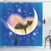 "Ambesonne Cat Shower Curtain, Cat Sleeping on Crescent Moon Stars Night Dreams Themed Kids Nursery Design, Cloth Fabric Bathroom Decor Set with Hooks, 75"" Long, Blue Yellow"