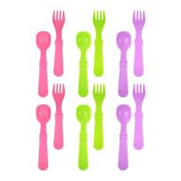 RE-PLAY MADE IN THE USA 12pk Fork and Spoon Utensil Set for Easy Baby, Toddler, and Child Feeding in Purple, White and Bright Pink   Made from Eco Friendly Heavyweight RECYCLED Milk Jugs   (Butterfly)