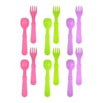 RE-PLAY MADE IN THE USA 12pk Fork and Spoon Utensil Set for Easy Baby, Toddler, and Child Feeding in Purple, White and Bright Pink | Made from Eco Friendly Heavyweight RECYCLED Milk Jugs | (Butterfly)