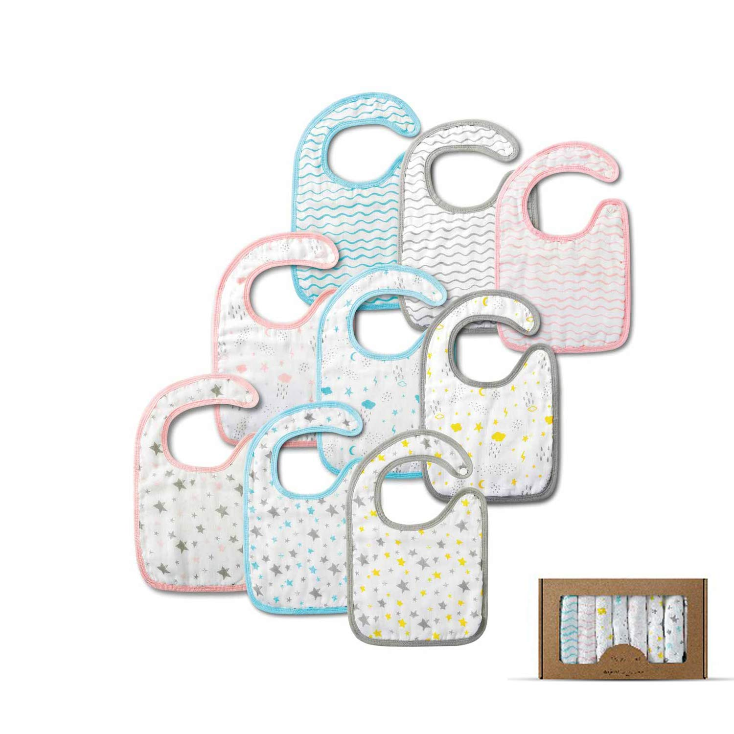 9 Pieces Extra Large Muslin Baby Bibs, 8 Layers 100% Cotton Muslin Baby Shower Gift Set for Drooling,Sung,Feeding and Teethiper,Absorbent Snap Button Bibs for Baby Boys,Girls
