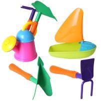 4PCS Sailboat Beach Toys Set Shovels, Rakes, Sprinkler, Sand Bucket Toys Party Favors for Kids(K2-6137)