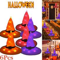 6Pcs Halloween Decorations Outdoor Hanging Lighted Glowing Witch Hat Decorations with Halloween Lights String Battery Operated Halloween Decor for Outdoor, Yard, Tree