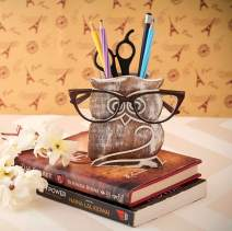 Birthday Gifts Owl Design Rustic Wood Pencil Holder Pen Cup Spectacle Eyeglasses Holder Desk Caddy Organizer Office Supplies Accessories Gift Ideas Office Coworkers