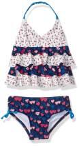 KIKO & MAX Girls' Baby Ruffle Top Two Piece Bikini Swimsuit Bathing Suit