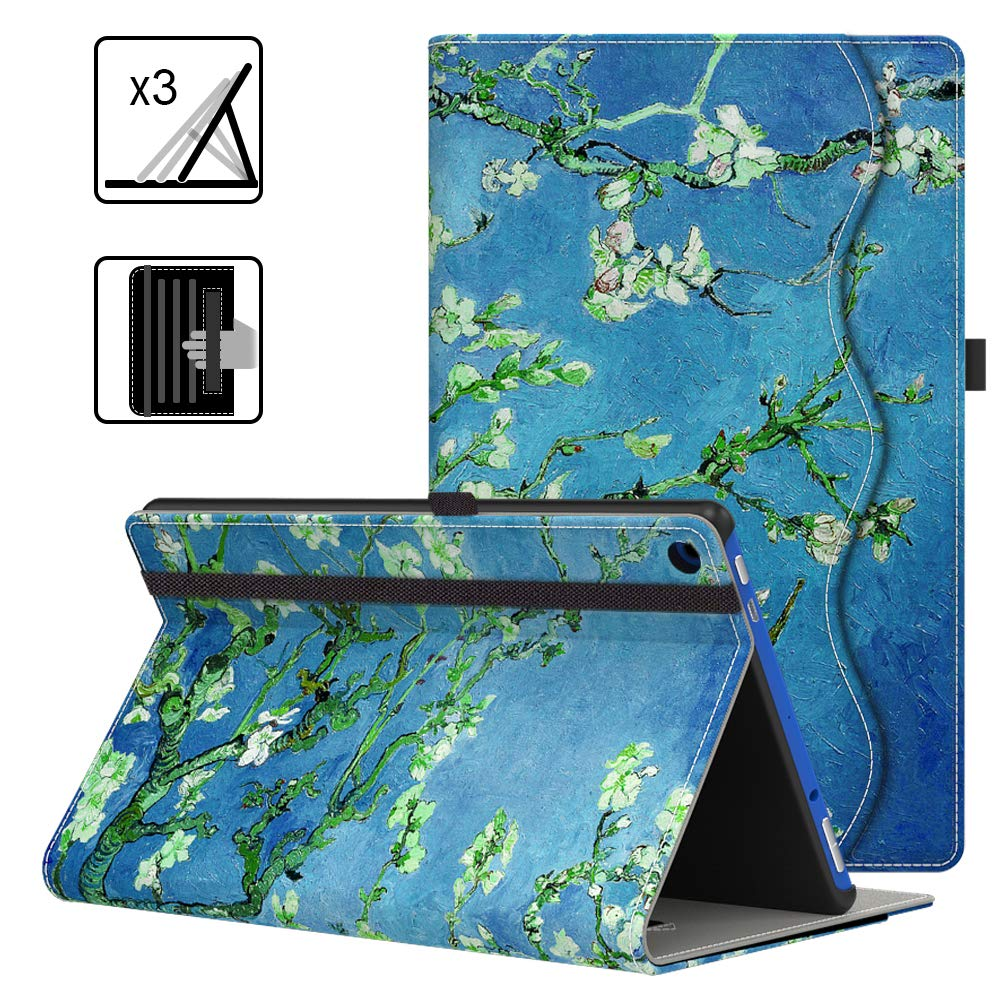 """VORI Case for Kindle Fire HD 10 Tablet (9th/7th Generation, 2019/2017 Release), Leather Smart Folio Cover with Hand Strap, Pocket and Auto Wake/Sleep for All-New Fire HD 10.1"""", Almond Blossom"""