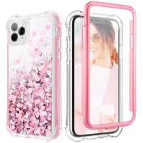 Caka Glitter Case for iPhone 11 Pro Max Case Girly Girls Women Bling Shiny Protective Full Body Heavy Duty TPU Bumper Liquid Flowing Love Glitter Case for iPhone 11 Pro Max (6.5 inch)(Rose Gold)