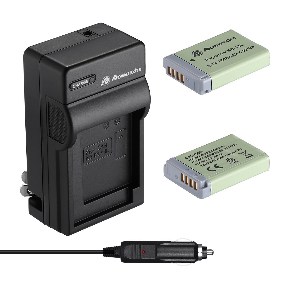 Powerextra 2 Pack Replacement Canon NB-13L Battery and Travel Charger Compatible with Canon PowerShot G5 X, G7 X, G7 X Mark II, G9 X, G9 X Mark II, SX620 HS, SX720 HS, SX730 HS Digital Camera