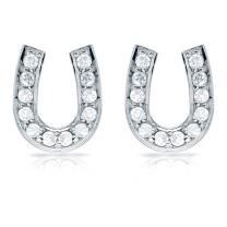 10k Gold Lucky Horseshoe Diamond Stud Earrings (1/10-1/3 cttw) with Push-backs Diamond Wish