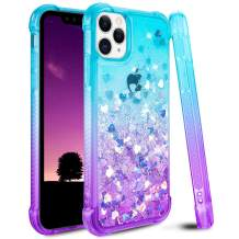Ruky Case for iPhone 11 Pro Glitter Case, Gradient Quicksand Series Bling Flowing Liquid Floating Soft TPU Bumper Cushion Protective Girls Women Phone Case for iPhone 11 Pro (Teal Purple)