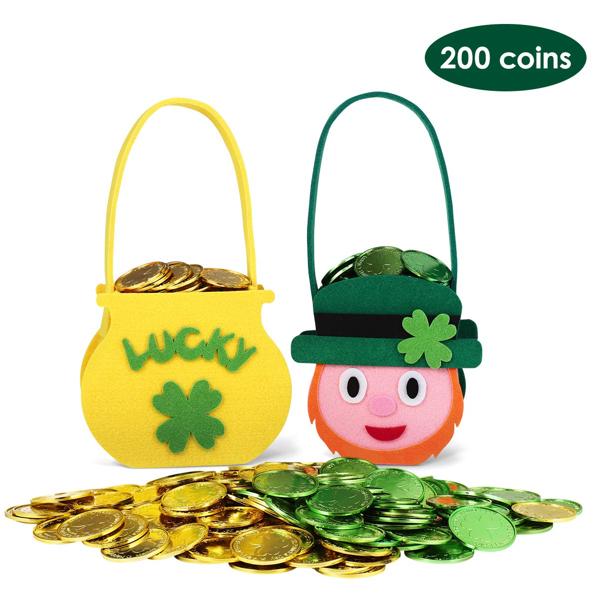 Unomor St. Patrick's Day Decorations 200 Lucky Shamrock Leprechaun Coins with 2 Felt Cauldron Pots with Handle for St Patricks Day Accessories Saint Patricks Pot of Gold Party Supplies