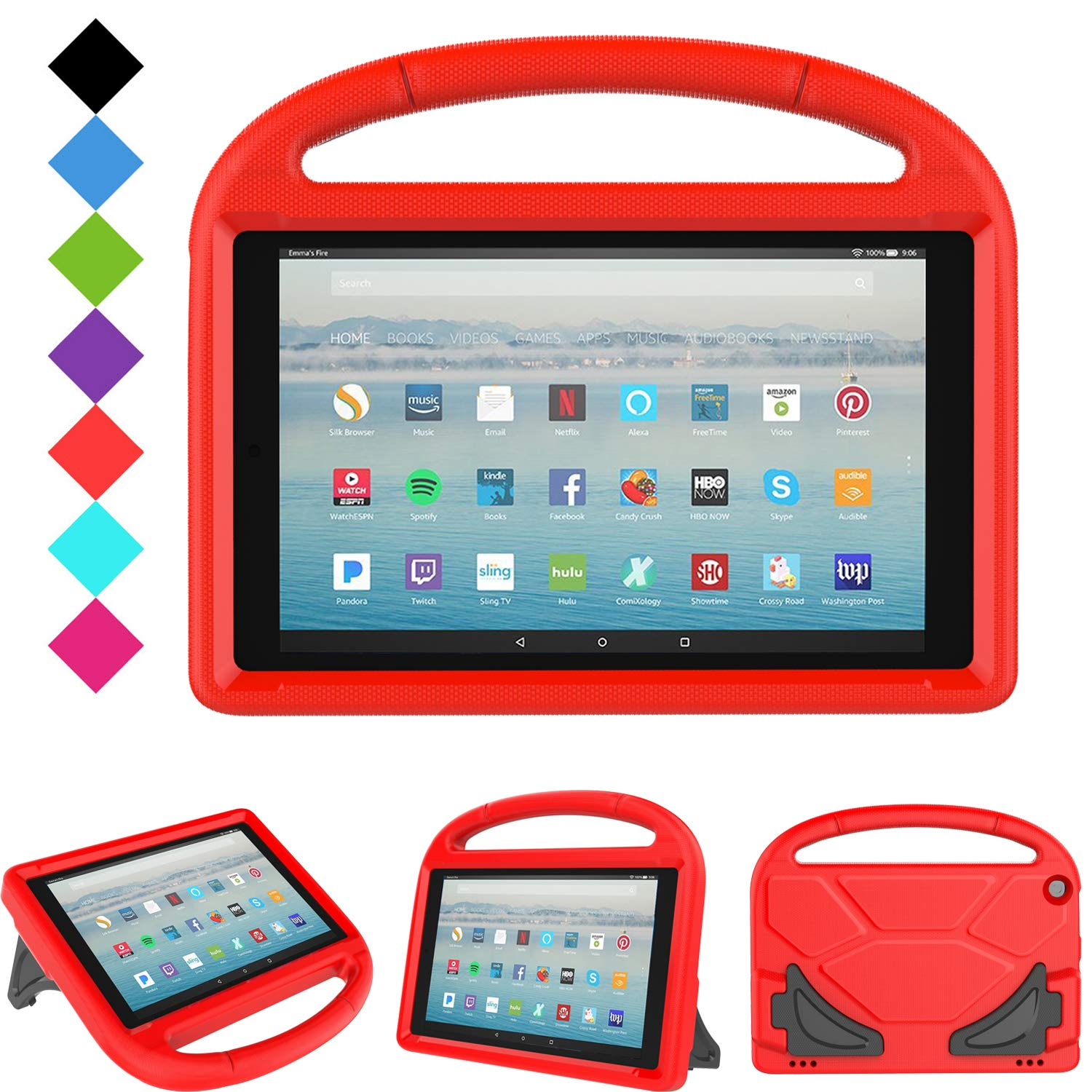All-New Fire HD 10 2019/2017 Tablet Case - TIRIN Light Weight Shock Proof Handle Stand Kids Friendly Case for Amazon Fire HD 10.1 Inch Tablet (9th/7th Generation, 2019/2017 Release), Red