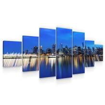 Startonight Huge Canvas Wall Art - City Lights Reflection Large Modern Framed Set of 7 40 x 95 Inches
