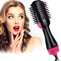 Hair Dryer Brush, 4 IN 1 Hot Air Brush One Step Hair Dryer & Volumizer & Styler,Hot Air Brush,Salon Hair Straightener Static Suitable for All hair Anti-Scald (Red)