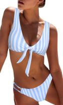 Bloom Muse Women's Sexy 2 Piece Swimsuits Cheeky Tie Bikini Sets High Cut Striped Bathing Suit
