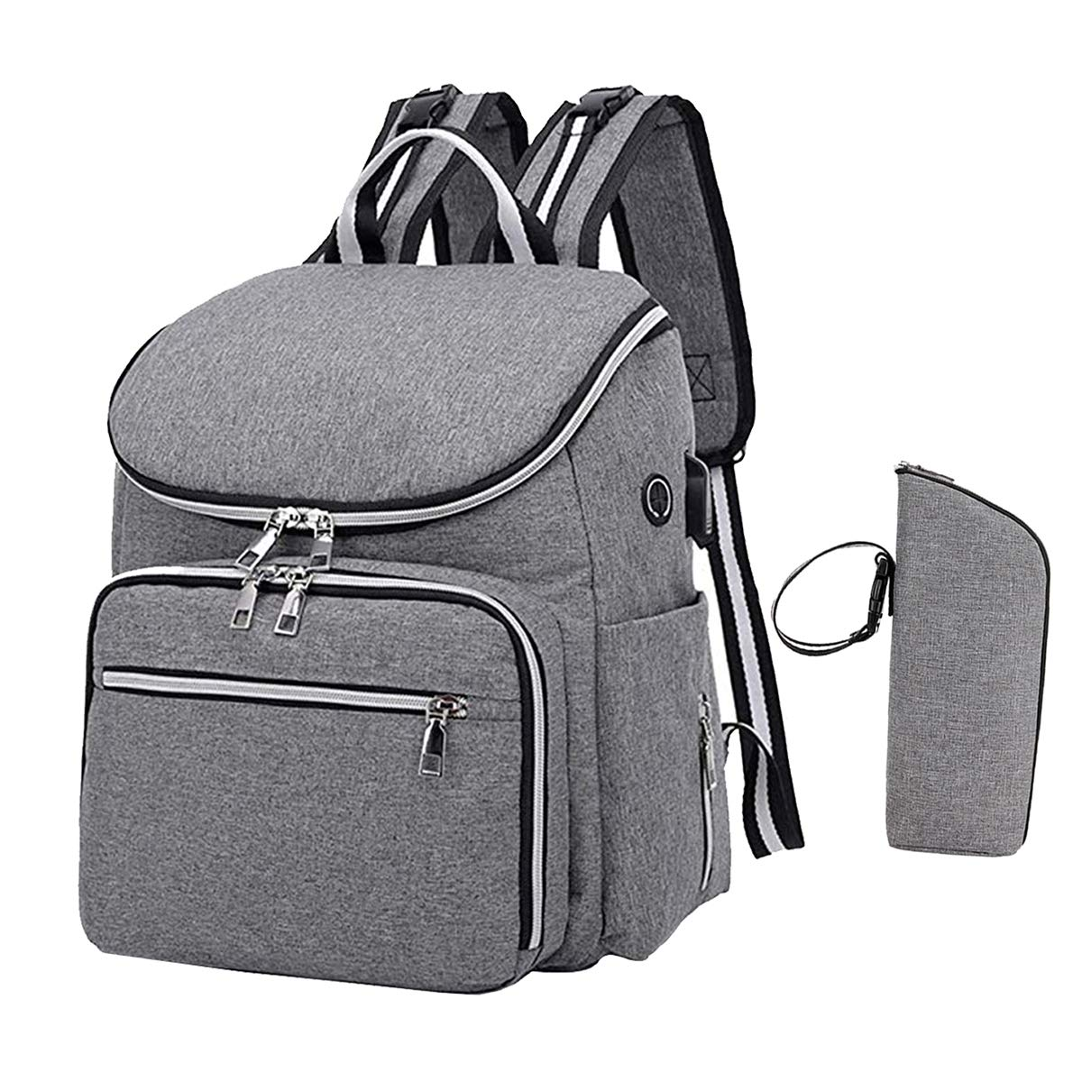 LUCKIPLUS Diaper Bag Backpack With USB Charging Port Multi-Function Nappy Ba