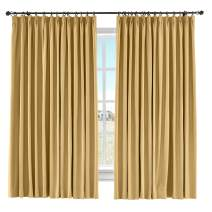 "ChadMade Extra Long Curtain Thermal Light Blocking Drape Linen Cotton Curtain Pinch Pleated Bedroom Kid Room,72"" Wide by 102"" Length (Honey Gold,1 Panel), Capri Collection"