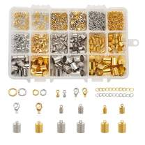 Pandahall 1 Box Jewelry Making Supplies with Brass Cord Ends Open Jump Rings Lobster Claw Clasps and Alloy Extender Chain Drop Charm (Golden and Platinum)
