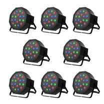 Nurxiovo DJ Lights 8 in 1 Upligting 18 X 1W RGB LEDs DJ Lighting Sound Activated Stage Par Lights Compatible with DMX, 9 Modes LED Up Lights for Clubs Churches Concerts Party Wedding