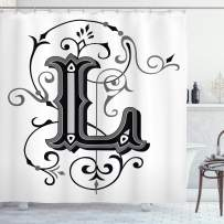 """Ambesonne Letter L Shower Curtain, Ornated Capital L Calligraphy Initials Alphabet Family Name Medieval Culture, Cloth Fabric Bathroom Decor Set with Hooks, 75"""" Long, Black Grey L"""