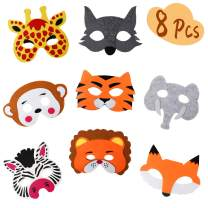 Jungle Safari Theme Party Supplies - Felt Masks Animal Theme Birthday Party Favors Assorted Designs Gifts for Kids 8 Pcs