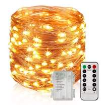 UPGRADE 33Ft 100 LED Waterproof Fairy Lights Battery Operated, 8 Modes Copper String Lights with Remote Control for Bedroom Dorm Indoor & Outdoor Decorations