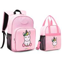 mommore Cute Unicorn Kids Backpack with Insulated Lunch Bag for Boys/Girls, Pink