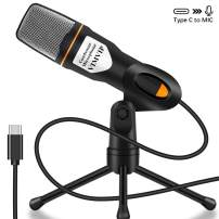 USB C Microphone for PC USB-C Phone, VIMVIP USB Type C Condenser Microphone with Stand Plug & Plug for PC,iPad Pro 2018 2019 Google Pixel 2 3 XL Moto Z