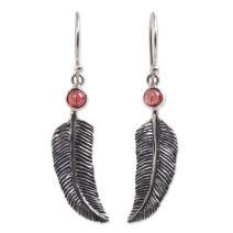 NOVICA Animal Themed Garnet .925 Sterling Silver Earrings, Light as a Feather'