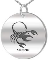 US Jewels And Gems 0.925 Sterling Silver 1in Scorpio October & November Zodiac Pendant Neckalce