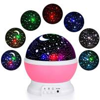 TMANGO Moon Star Projector Light, 9 Light Colors Conversion with 360 Degree Rotation, Room Decoration Night Lighting Gift for Children Kids Birthday, Parties, Christmas (Pink)