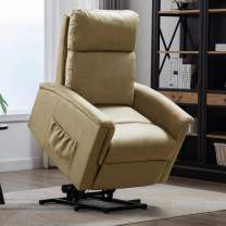 CANMOV Power Lift Recliner Chair - Single Soft Fabrice Lift Chair with Storage Bag, Buff